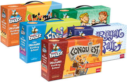 product boxes for Buzz Conquest, Royal Ball, Eenie Meenie, Amigos, and Skirmish