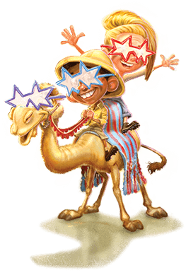 The main characters of Twas the Light Before Christmas, Ray and Vanessa, sit atop a camel. All three characters are wearing comically large star-shaped glasses.