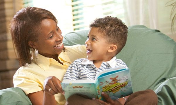Mom and Son Reading Book