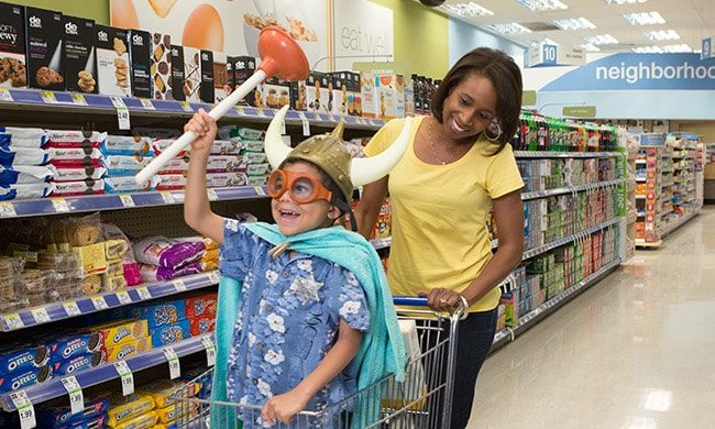 Mom With Kid at Super Market