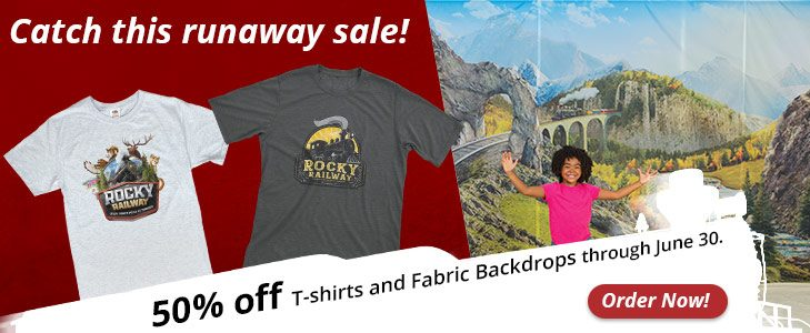 50% off Rocky Railway Shirts and Fabric Backdrops
